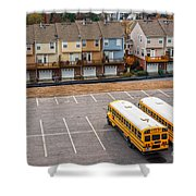 Schoolbuses And Colorful Houses - Atlanta - Georgia Shower Curtain