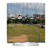 Schoolchildren Practicing On Playing Field With Singapore Skyline In Background Shower Curtain