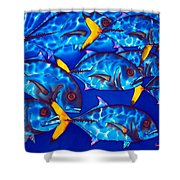Schooling  Jack Fish Shower Curtain