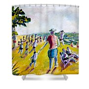School's Out On The Beach Shower Curtain