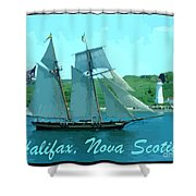 Schooner And Lighthouse Shower Curtain