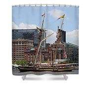 Schooner Arriving At Baltimore Inner Harbor Shower Curtain