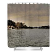 Schuylkill River On A Cloudy Day Shower Curtain by Bill Cannon