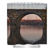 Schuylkill River Railroad Bridge In Autumn Shower Curtain