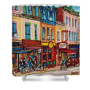 Schwartzs Deli And Warshaw Fruit Store Montreal Landmarks On St Lawrence Street  Shower Curtain
