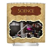 Science Button Shower Curtain by Mike Savad