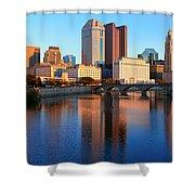 Scioto River And Columbus Ohio Skyline Shower Curtain