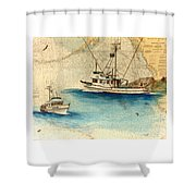 Scooter Fishing Boat Nautical Chart Map Art Shower Curtain