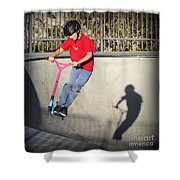 Scooter Flying Shower Curtain