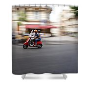 Scooter In Paris Shower Curtain