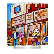 Scooting By The Main Steakhouse Authentic Montreal Paintings Prints Originals Commissions C Spandau Shower Curtain
