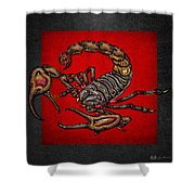 Scorpion On Red And Black Leather Shower Curtain