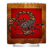 Scorpion On Red And Brown Leather Shower Curtain