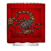 Scorpion On Red Shower Curtain