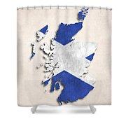Scotland Map Art With Flag Design Shower Curtain