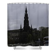 Scott Monument Next To Waverley Train Station And With Sightseeing Buses Shower Curtain