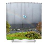 Scottish Flag With A Rainbow Shower Curtain