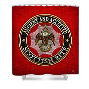 Scottish Rite Double-headed Eagle On Red Leather Shower Curtain
