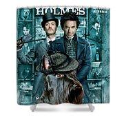 Scottish Terrier Art Canvas Print - Sherlock Holmes Movie Poster Shower Curtain