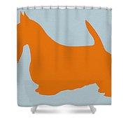 Scottish Terrier Orange Shower Curtain