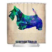 Scottish Terrier Poster Shower Curtain by Naxart Studio