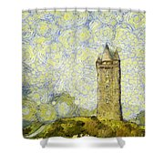 Starry Scrabo Tower Shower Curtain