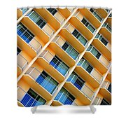 Scratchy Hotel Facade Shower Curtain