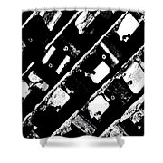 Screwed Metal Tab Abstract Shower Curtain