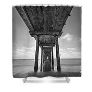 Scripps Pier La Jolla Long Exposure Bw Shower Curtain