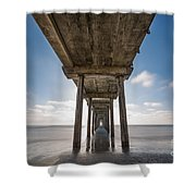 Scripps Pier Long Exposure Shower Curtain