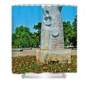 Sculpture And Flowers In Antalya Park Along Mediterranean Coast-turkey  Shower Curtain