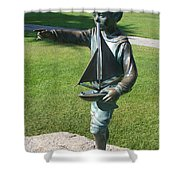 Sculpture - Boy With Sailboat Shower Curtain