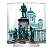 Sculpture Of Alexander II In Cathedral Of Helsinki-finland Shower Curtain