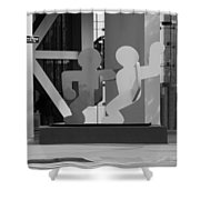 Sculpture On State Street In Black And White  Shower Curtain