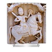 Sculpture On The Royal Cenotaphs Near Jaisalmer In India Shower Curtain