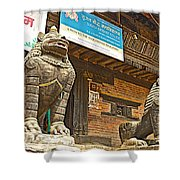 Sculptures Of Protector Figures In Front Of Sufata Buddhist College In Patan Durbar Square Shower Curtain
