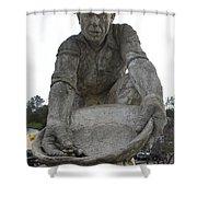 Scuplture Of Gold Rush Miner Claude Chana Shower Curtain