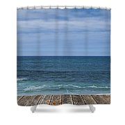 Sea And Wooden Platform Shower Curtain