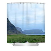 Sea Cliffs At Neist Point In Scotland Shower Curtain