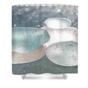 Sea Glass Aqua Shimmer Shower Curtain by Barbara McMahon