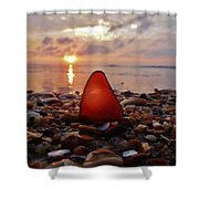 Sea Glass Sunrise And Shells 9 10/18 Shower Curtain