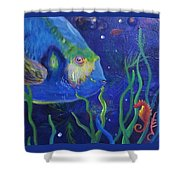 Sea Horse And Blue Fish Shower Curtain