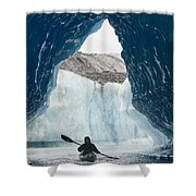 Sea Kayaker Paddles Through An Ice Cave Shower Curtain