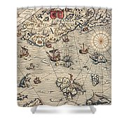 Sea Map By Olaus Magnus Shower Curtain