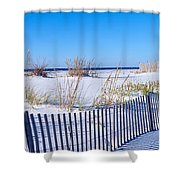 Sea Oats And Fence Along White Sand Shower Curtain