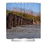 Sea Oats And Pilings Shower Curtain