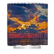 Sea Oats Silhouette Shower Curtain