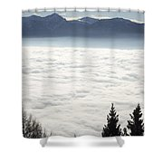 Sea Of Fog And Alps Shower Curtain