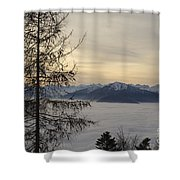 Sea Of Fog In Sunset Shower Curtain
