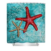 Sea Shore Original Coastal Painting Colorful Starfish Art By Megan Duncanson Shower Curtain